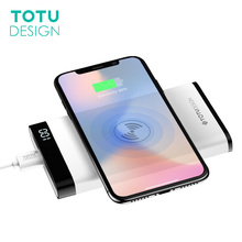 TOTU 8000mah QI Wireless Charger Power Bank LED Display For iPhone X 8 Plus 5V 2.1A Dual USB Ports External Battery Powerbank(China)