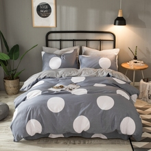 Gray Flannel Bedding Set Cotton Duvet Cover White Dots Solid Gray Fleece Coverlet Winter Duvet Cover Set Queen King size(China)