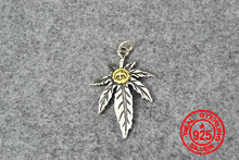 Charm Goro 's Fashionable Ladies And Women's Wear Jewelry S925 Sterling Handmade Maple Feather Pendant Silver Metal Charms Real