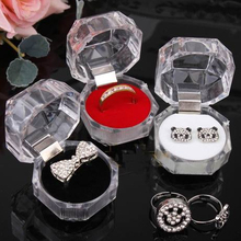 60Pcs Acrylic Crystal Clear Ring Box Transparent 3Color Box Stud Earring Jewelry Case Gift Boxes Jewelry Packaging Free shipping