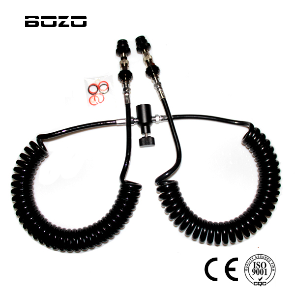 Dual 3.5M coil remote hose line with QD and slide check double long NEW paintball free shipping<br>