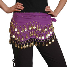 Fashion Chiffon Belly Dance India Dance Hip Scarf 3 Rows Coin Belt Skirt Scarf Wrap Costume Gold Coin Chain
