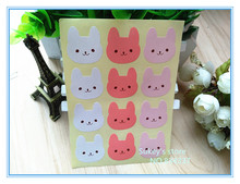 120pcs/lot 3colors little rabbit stickers  sealing sticker baking package cake box decoration free shipping