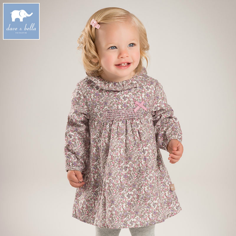 DB5506 dave bella baby Princess girl Wedding Birthday dress floral Children Clothes Infant Designs GIRLS Vestido<br>