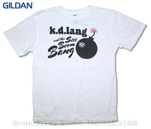 GILDAN Hip Hop Novelty T Shirts Men's Brand Clothing Kd Lang Siss Boom Bomb On White T Shirt(China)