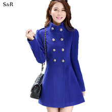 2016 Korean Fashion Women Duffle Overcoat  Winter Autumn Outerwear Trench Ladies Long Pea Coats Tweed Double Breasted Solid