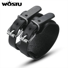 WOSTU Hot Sale Genuine Top Layer Leather Wrap Bracelet High Quality Trendy Jewelry For Men Fashion Pulseira XCJ0094(China)