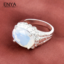 Fabulous Women & Men Jewelry High Quality Synthetic Moonstone Rings Hot Sell Silver Plated Classical Ring R0163