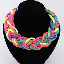 YAAYOO 2017 Cotton 6 Colorful Handmade Knitting Chokers Statement Necklaces & Pendants Women Choker Jewelry For Girl Gift Party