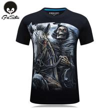 S-6XL 10 style Mens 3d Skull Cotton T Shirts Fashion 2016 Summer New Brand T Shirt Men Hip Hop Men T-Shirt Casual Fitness Swag