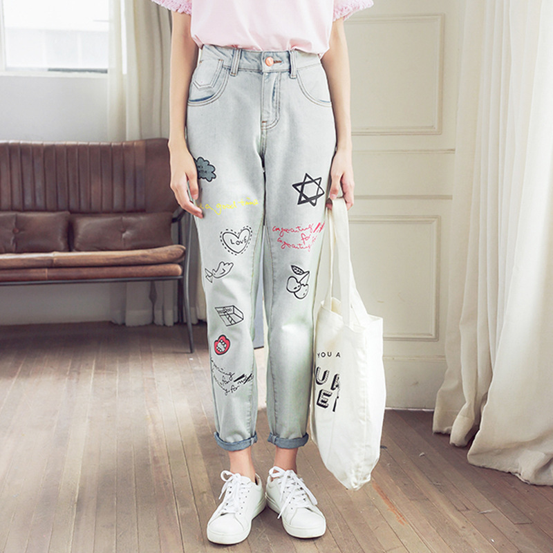 Kesebi 2017 Spring Summer New Hot Female Pattern Zipper Vintage Trousers Women Casual Washed Printed Loose Pants JeansОдежда и ак�е��уары<br><br><br>Aliexpress