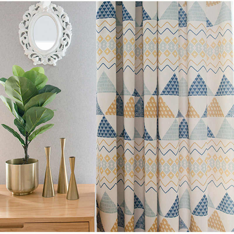 Modern Geometric Print Blackout Curtains For Living Room Bedroom Boys Room Children Curtains Tulle Custom Nordic Home Decor 0894