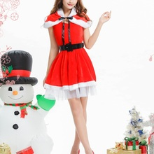2017 Christmas Dress Adult Women Red Dresses Christmas Costume Halloween Party Ball Gown Santa Miss CosPlay Vestidos(China)