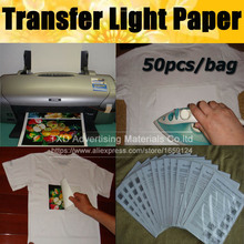 Free shipping 50pcs Sheets/Bag For Cloth T-Shirt Iron On Inkjet Light Fabrics Heat Transfer Paper A4