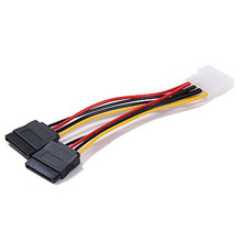 10pcs/lot 2-Port SATA Splitter Power Cable (2 x 15-Pin)(China)