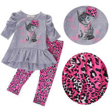 2017 new year hello kitty set  Kids Baby Girls clothes clothing sets Cat Printed T-shirt Tops Dress+Leopard Pants Outfits Set