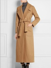 New Women's Ultra Long Autumn Winter Wool Coats Camel Woolen Jackets Double Breasted Woolen Trench Coats Overcoat Plus Size