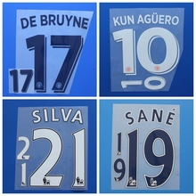 2016 2017 Premier League city KUN AGUERO DE BRUYNE KOMPANY STERLING SILVA SILVA football number font print ,Soccer patch badge
