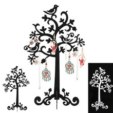2016 Birds Tree Jewelry Stand Display Earring Necklace Ring Holder Organizer Rack Tower KQS
