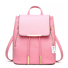 Women Backpack High Quality PU Leather School Bags Teenager Girls Pink Fashion Travel Bag Mochila Escolar Top-handle Backpack