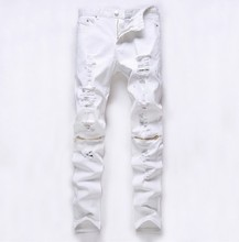 White Ripped jeans for men Superstar Skinny jeans Fashion Casual Slim fit Mens Biker jeans brand Hip hop Denim overalls pants