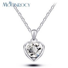 MOONROCY Free Shipping Rose gold Color Crystal Necklace Fashion heart-shaped purple green crystal for women girls gift