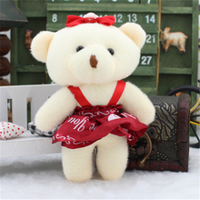 12Pcs/Set Lovely 13CM Mini Bear Wedding Bouquets Doll Soft Plush Toy Phone Charm Stuffed Small Pendant Toy brinquedos Cheap Gift