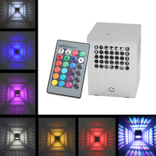 3W RGB AC85-265V Modern Aluminum Creative Led Wall Lamp With Remote Controller for Corridor Porch KTV Bar Decoration(China)