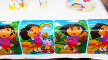 FreeShipping Kid Girl Baby Happy Birthday Party Decoration Kids Supplies Favors Dora Table Cloth Size 220cm X 132cm