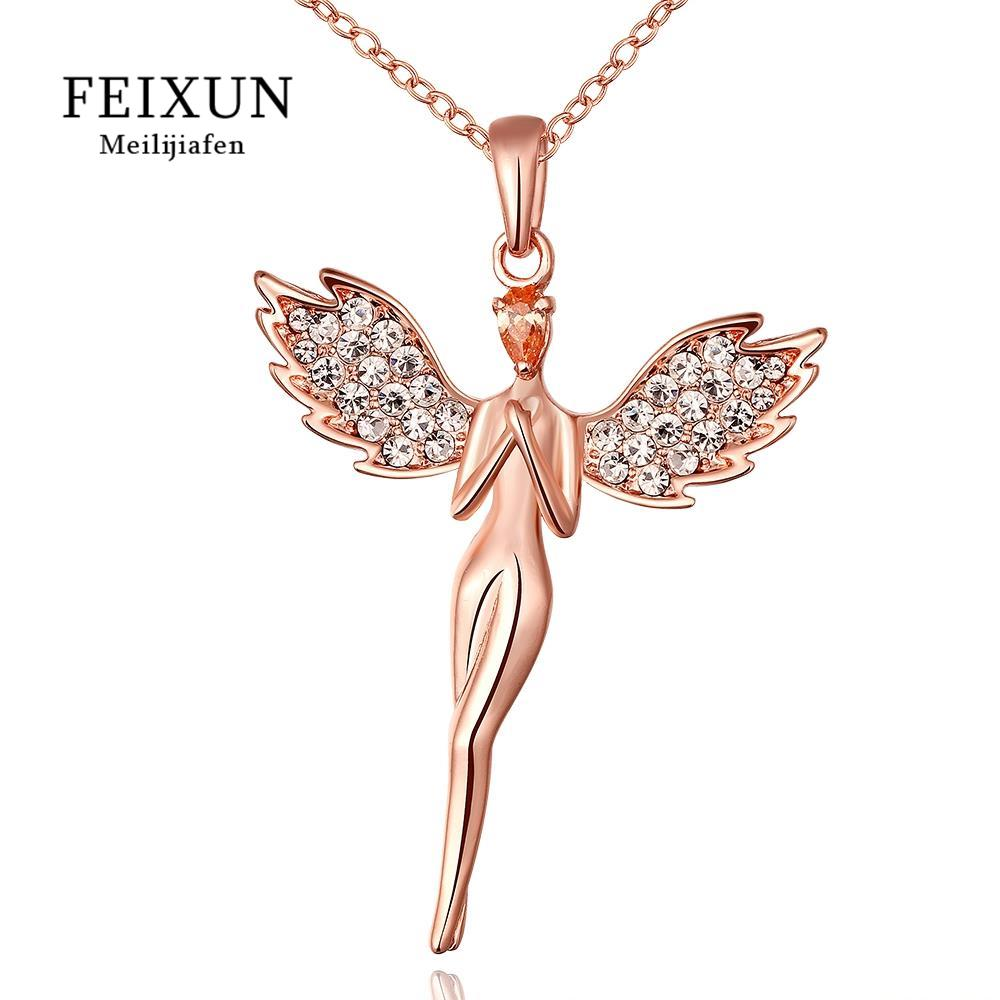FEIXUN Stainless Steel Long Necklaces Pendants For Women Rose Gold-plated Necklaces Silver CZ Crystal Simple Fashion Jewelry