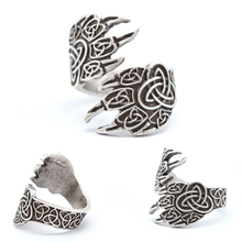 1pcs Celtics Wolf Paw Ring For Men Women Norse Vikings Rings Adjustable Bear Wolf Rings Viking Jewelry RG18