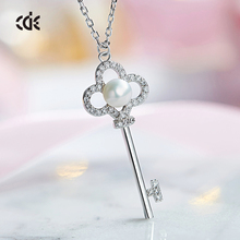 Cdyle's female key pendant with a pearl necklace made from swarovski elements has elegant fashion luxury S925 sterling silver je(China)