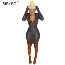 Buy Sibybo Sexy Mesh Rhinestone Party Bodycon Bandage Dress Women Deep V Neck Autumn Winter Pencil Mini Long Sleeve Party Club Dress for $16.67 in AliExpress store
