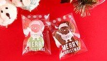 100pcs Clear Christmas Santa Self Adhesive Seal Cellophane Cookie Bag for Bakery Gift Candy Biscuits Chocolate Packaging(China)