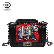 KULUOSIDI Brand Vintage Small Flap Bag Mini Chains Women Messenger Bags Designer Embroidery Female Shoulder Bags Ladies Hand Bag(China)