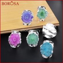 BOROSA 5Pcs Rainbow Silver Color Sun Flower Quartz Stone Ring Druzy Bang Rings, Flower Solar Quartz Band Ring Geode Rings S0308(China)