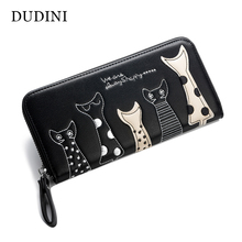 DUDINI Europe Women Cat Cartoon Wallet Long Creative Female Card Holder Casual Zip Ladies Clutch PU Leather Coin Purse ID Holder(China)