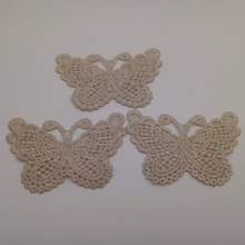 20pcs/lot Gold Silk Lace Butterfly Applique Silk Thread Mesh Trim For Wedding Dress Garment Decoration DIY Lace Cloth(China)
