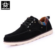 Casual Men Lace-up Shoes Black Blue Yellow EU Size 39-44 Suded Leather Upper Man Brand Fashion Shoes(China)