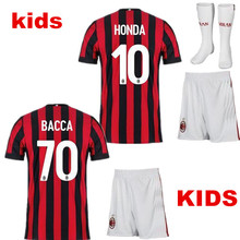 2017 boy child T-shirt AC milan kids kit 2017 2018 Best Quality Leisure AC milan Children Youth Sets Slim Fit T Shirts Clothes(China)