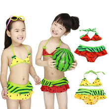 watermelon Swimsuit Girls 2 Pieces Swimwear Female Split Bikini Baby Children Swimwear Girls Bikini Kids Swimming Suit,Shorts(China)