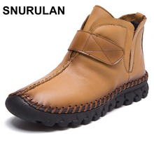 SNURULAN 2017 New fashion women Genuine Leather Boots Vintage Style Flat Booties Zip Ankle Boots Women's Shoes zapatos mujer(China)