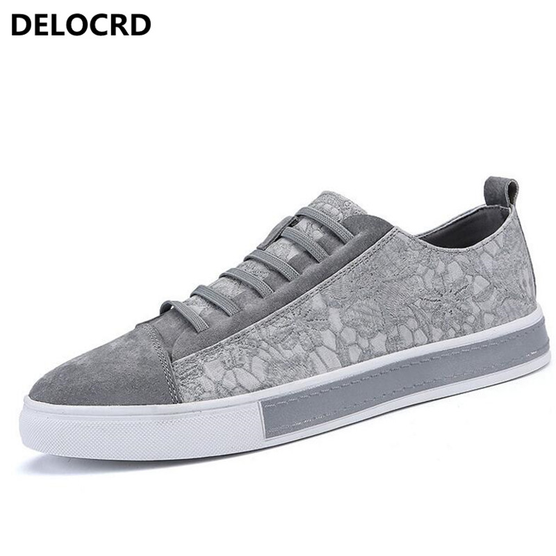 Spring New Mens Fashion Casual Shoes Trend Leather Lace Mens Shoes Non-slip Low  Help Casual Shoes Leather Mens Flat Shoes<br>