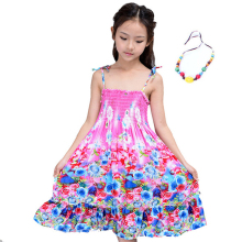 New 2017 Summer Bohemian Style Girl Dresses Floral Shoulderless Beading Necklace Sundress For Girls Beach Dress Vestido Infantil