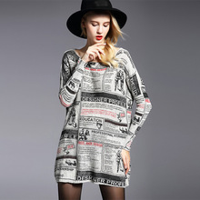 Plus Size 2016 Women's Fashion Long Knitting Sweaters Femme Slash Neck Batwing Sleeves Newspaper Printing Wool Pullovers
