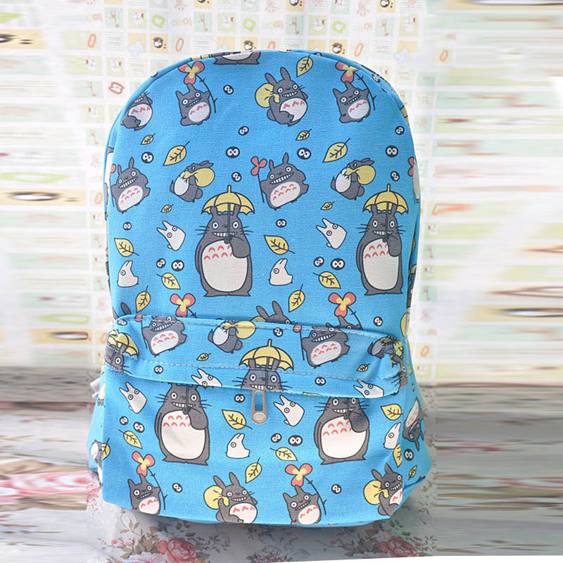 New Arrival My Neighbor Totoro Cartoon Bookbag Canvas Backpack Rucksack Blue School Shoulder Bags Mochila for Teenagers Kids(China)