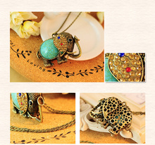 2014 New Fashion Crystal Elephant Pendant Necklace Vintage Gold Long Chain Rhinestone Animal Necklace Women Costume Jewellery