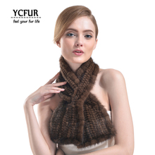 YCFUR Genuine Mink Fur Scarves Winter 2016 Women Fur Wraps Scarves Knitted Natural Mink Scarf For Female YSC111