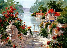 Free shipping scenery wall tapestry,Italian harbor,classical design,size 30x40cm decor for small room(China)
