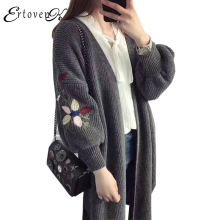 Plus size Knit Cardigan Women Coats New 2017 Autumn Clothes Cardigan Sweater Jackets Long Sleeve Top Embroidery Outerwear LH228(China)